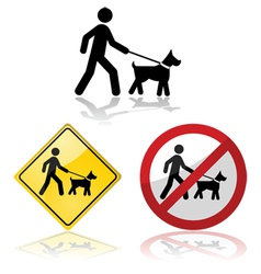 Dog on a leash vector