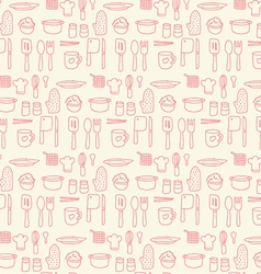 Doodle kitchen seamless pastel color background vector image