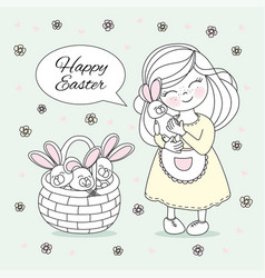 easter girl great religious holy holiday cartoon vector image