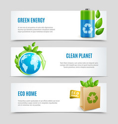 ecology horizontal banners in paper design vector image