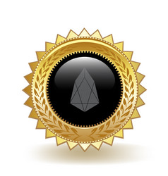 eos cryptocurrency coin gold badge vector image
