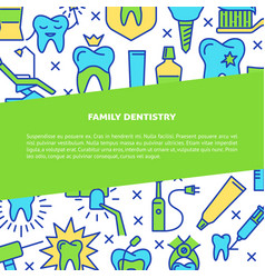 Family dentistry clinic banner template in line vector