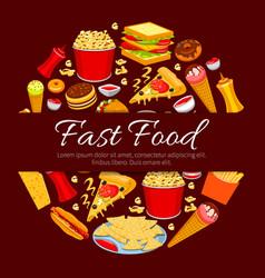 Fast food round symbol for takeaway menu design vector