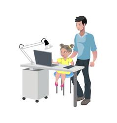 Father watching girl doing homework vector