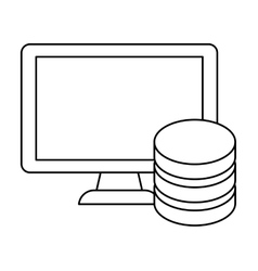 Figure connected computer databese server banner vector