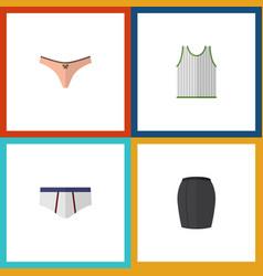 Flat icon garment set of singlet lingerie vector