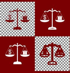 Gift and dollar symbol on scales bordo vector