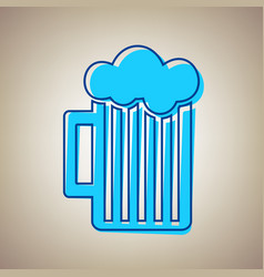 Glass of beer sign sky blue icon with vector