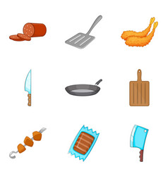 Gluttony icons set cartoon style vector
