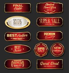 Golden sale labels collection on black background vector