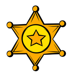 golden sheriff star badge icon icon cartoon vector image