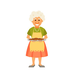Grandmother with pies vector