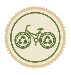 Green emblem eco bicycle icon vector