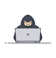 hacker in hoodie vector image