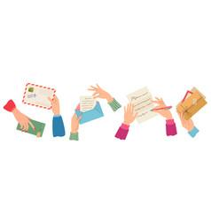 hands sending letter female hand holding vector image