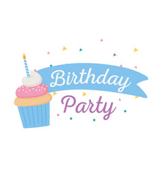 happy birthday sweet cupcake with candle party vector image