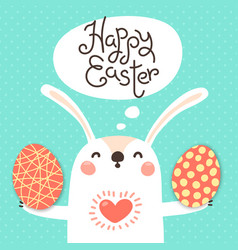 happy easter card with cute bunny white rabbit vector image