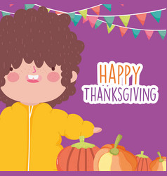 happy thanksgiving celebration cute little boy vector image