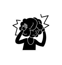 headache black icon sign on isolated vector image