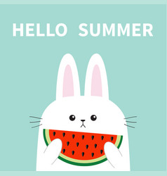 Hello summer white bunny rabbit head face holding vector