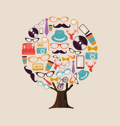 hipster fashion concept tree vintage icons vector image