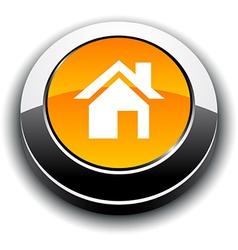 Home 3d round button vector image
