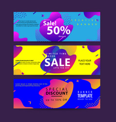 horizontal banner set with modern colorful fluid vector image