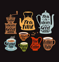 Hot drinks tea coffee label set collection vector