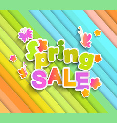 Inscription spring sale with butterfly vector