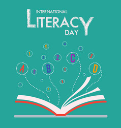 International literacy day with book and flying vector