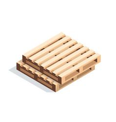 Isometric wooden pallets vector