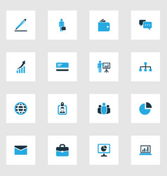 Job colorful icons set collection of pie chart vector