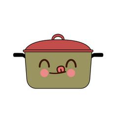 Kawaii kitchen pot cartoon saucepan of to cooking vector