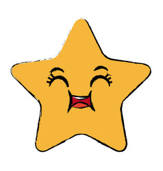 Kawaii star cartoon cute facial expression vector
