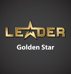 leader golden star inscription icon vector image