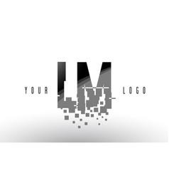 Lm l m pixel letter logo with digital shattered vector