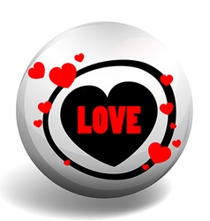 Love badge with hearts vector