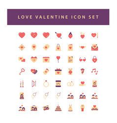 love valentine icon set with colorful modern flat vector image