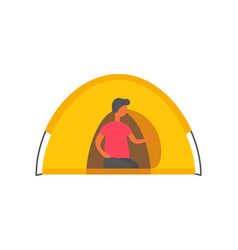 male person in tent isolated man in shelter vector image