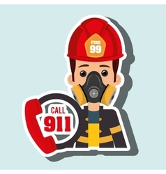 Man firefighter mask helmet vector