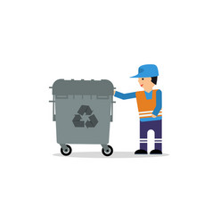 Man with garbage box vector