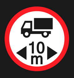 Maximum vehicle length sign flat icon vector
