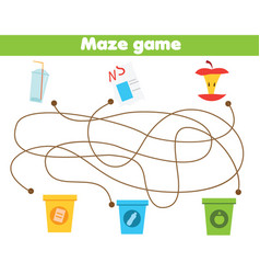 Maze game for children waste sorting theme sort vector