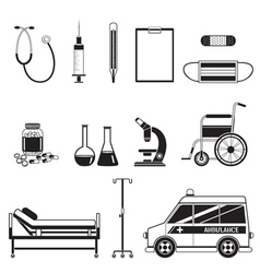 Medical Equipment Icons Set Monochrome vector image