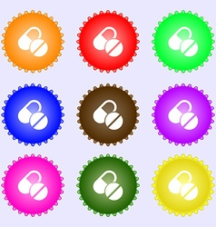 Medical pill icon sign Big set of colorful diverse vector image