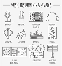 Musical instruments symbols graphic template vector image