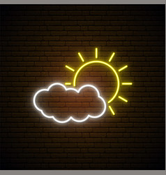 Neon weather sign bright glowing sun and cloud vector