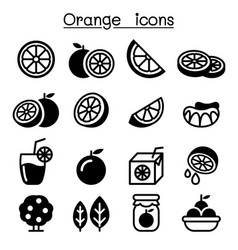 orange icon set vector image