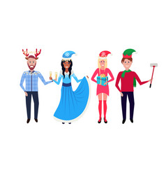people wearing different costumes standing vector image