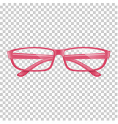 Realistic pink glasses on transparent background vector